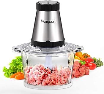 homgeek Picadora de Acero Inoxidable, Trituradora de Alimentos Sin BPA