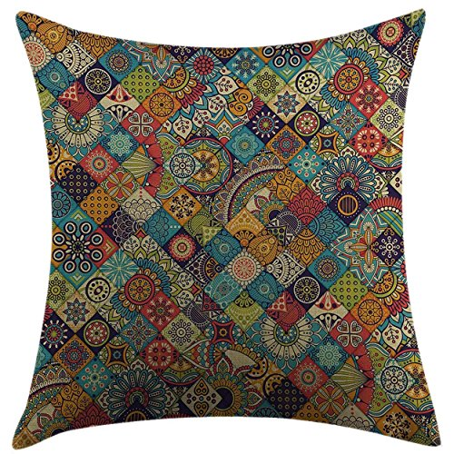 Mugod Home Decorative Throw Pillow Cover Bohemian Checkered Pattern with Ethnic Ornamental Floral Figures Ethnic Folk Art Abstract Multicolor Pillow case 18x18 Inch