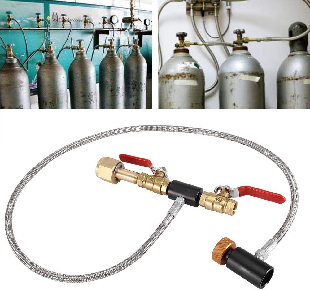 2 Kit Connettore Bombola in Acciaio Inox Accessori per Creatore di Soda per Serbatoi di CO2 per Riempimento di Serbatoi Sodastream Adattatore di Ricarica Bombola di CO2 G1 24con calibro