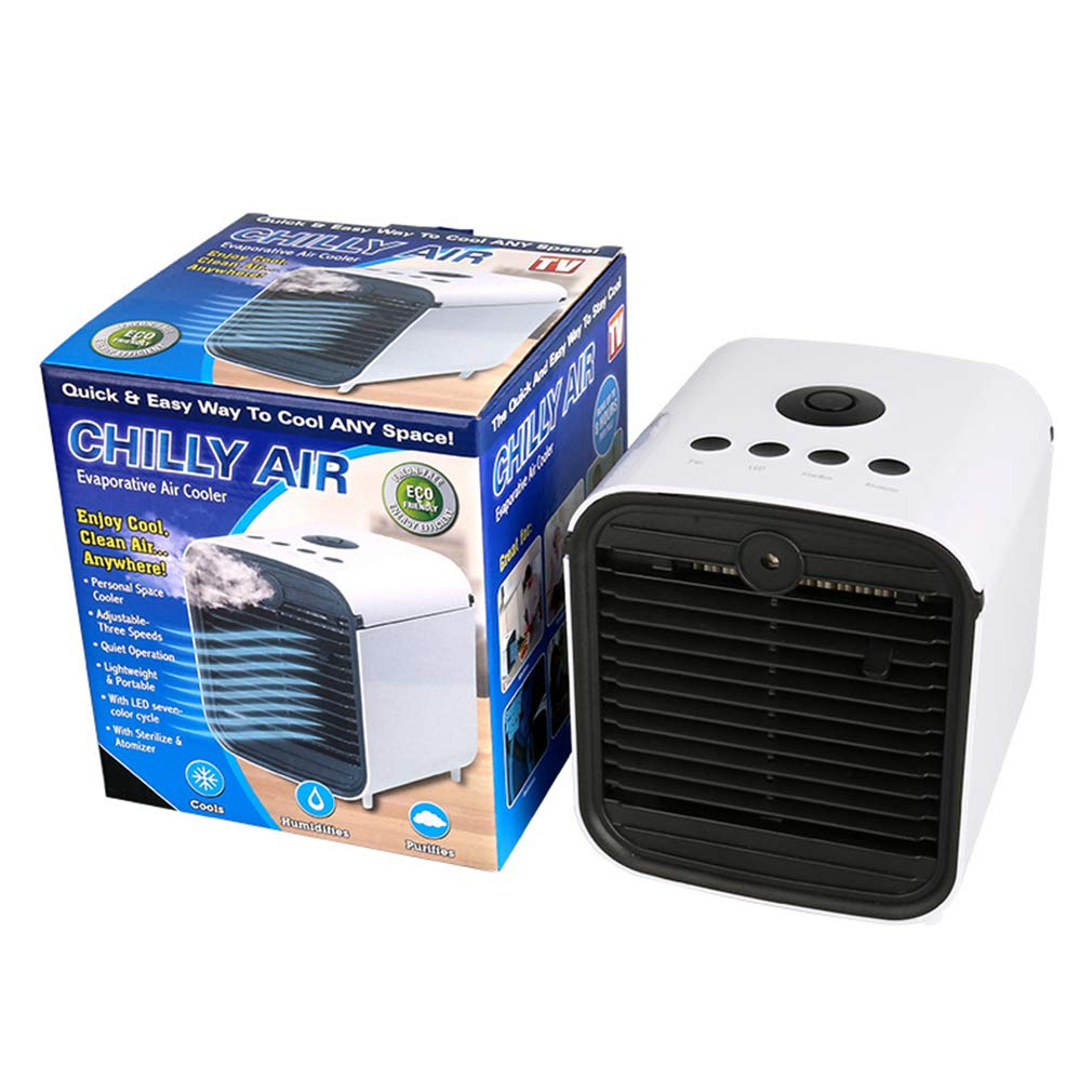 Chilly AIR Air Cooler, Blue Sterilizing Three-in-one Cooling and Humidification and Air Purification, Easy to Carry USB Connection, 7-Color Night Lighting, Suitable for Home Outdoor Fitness Office. by Qy