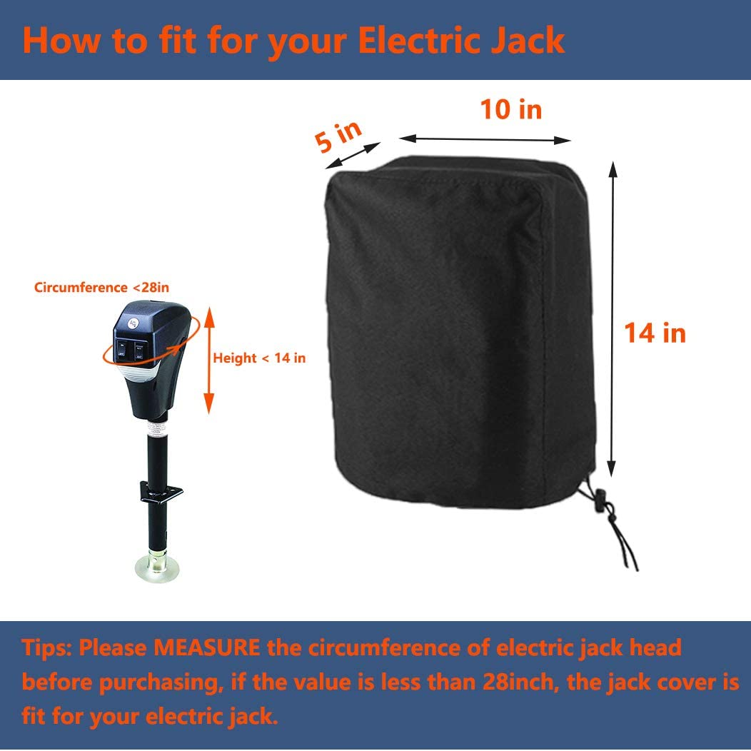 Coverify Electric Tongue Jack Cover Heavy Duty 600D Oxford Fabric Waterproof Tongue Cover for RV//Camper//Travel Trailer//Plug Protector,Universal Electric Power Tongue Jack Cover Size 10Lx5Wx14 H