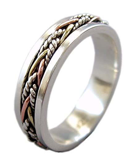 ed41e468a Energy Stone Twine 5.5 mm Narrow Band Tri-Color Meditation Spinner Ring  (Style# SR40): Amazon.ca: Jewelry