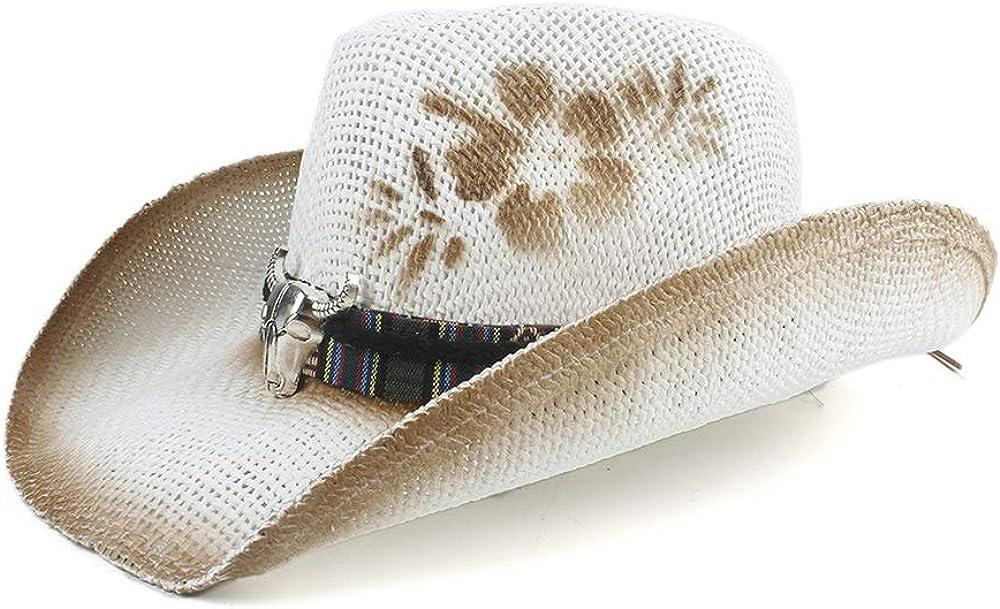 Women Cow Head Straw Cowboy...