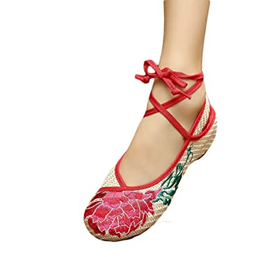 EXCELLANYARD Women s Embroidery Chinese Vintage Flat Shoes 6 US ... 946970afff1e