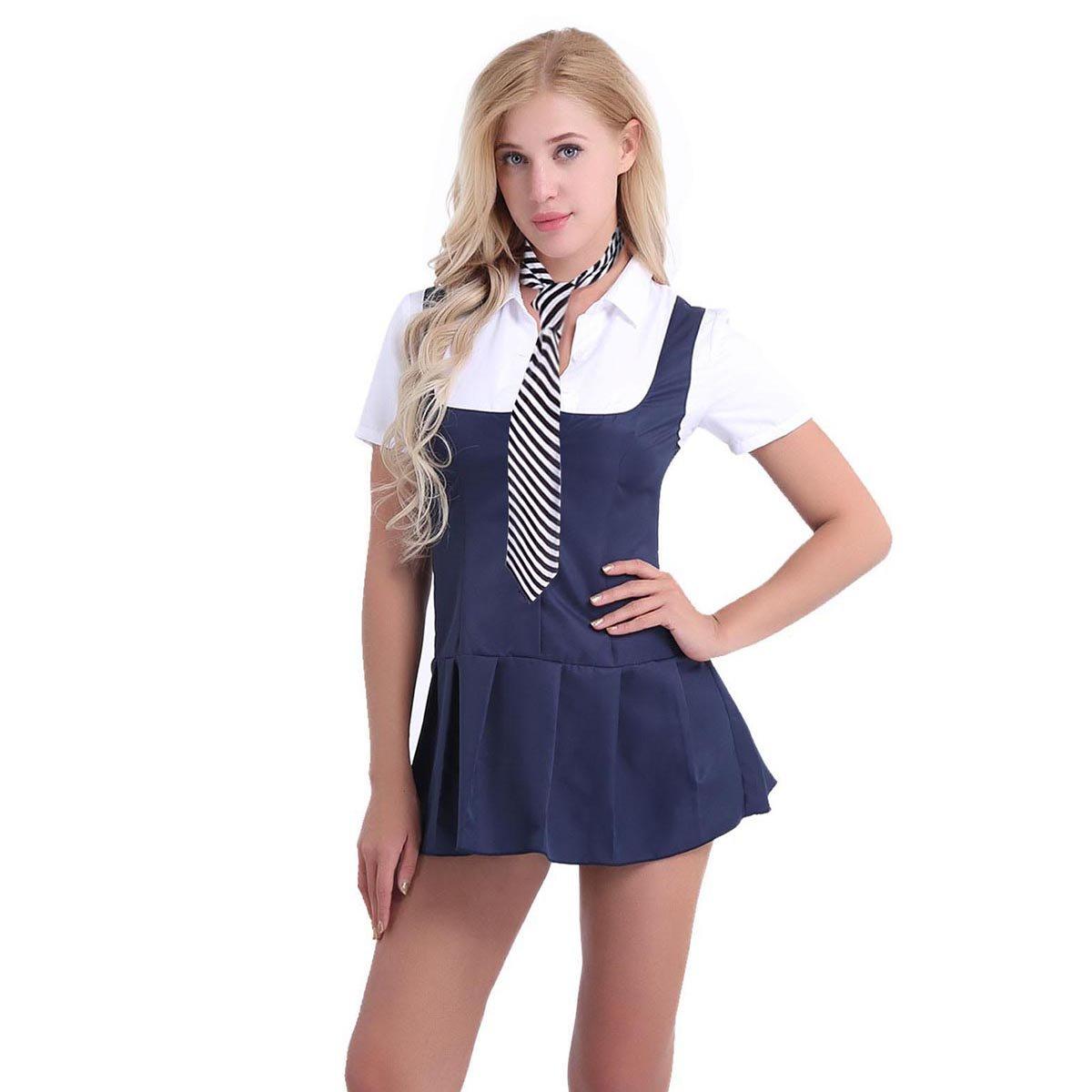 Alvivi Women's Adult Schoolgirl Role Play Cosplay Costume Fancy Dress Pleated Skirt Uniform
