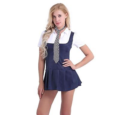 692ebe7eaf3e Alvivi Women s Adult Schoolgirl Role Play Cosplay Costume Fancy Dress  Pleated Skirt Uniform Navy Blue+