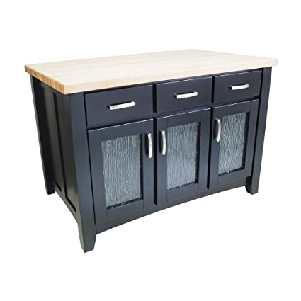 Amazon Com Jeffrey Alexander Contemporary Kitchen Island In Black