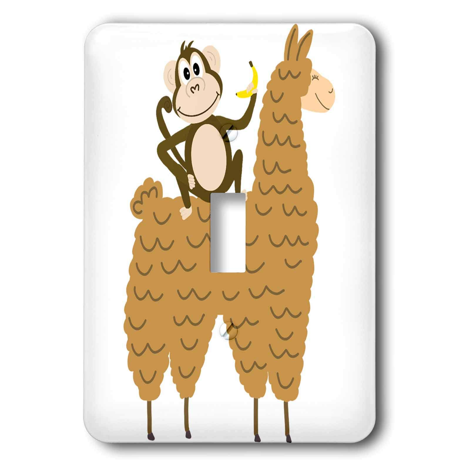 3dRose AllSouthernDesignTees - Zoo Animals - Funny cool monkey eating a banana and riding a llama - Light Switch Covers - single toggle switch (lsp_290656_1) by 3dRose