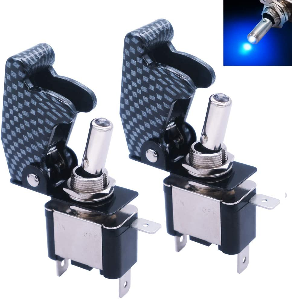 mxuteuk 2pcs 12V 20A Blue LED Light Heavy Duty Rocker Toggle Switch With Carbon Fiber waterproof cover SPST ON//Off 2Pin For Car Truck Boat ASW-07D-BU-GYMZ