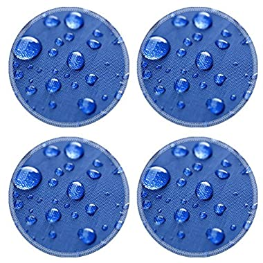 Coasters Closeup of rain drops on a blue umbrella IMAGE 31827688 by MSD Round Coasters (4 Piece) Set Cup Mat Mug Can Water Bottle Drink Customized Stain Resistance