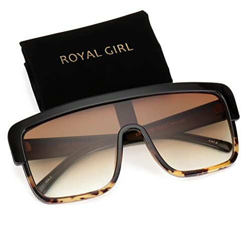 6c1da9846b75 ROYAL GIRL Premium Oversized Sunglasses Women Men Flat Top Square Frame  Shield Fashion Shades Vintage(