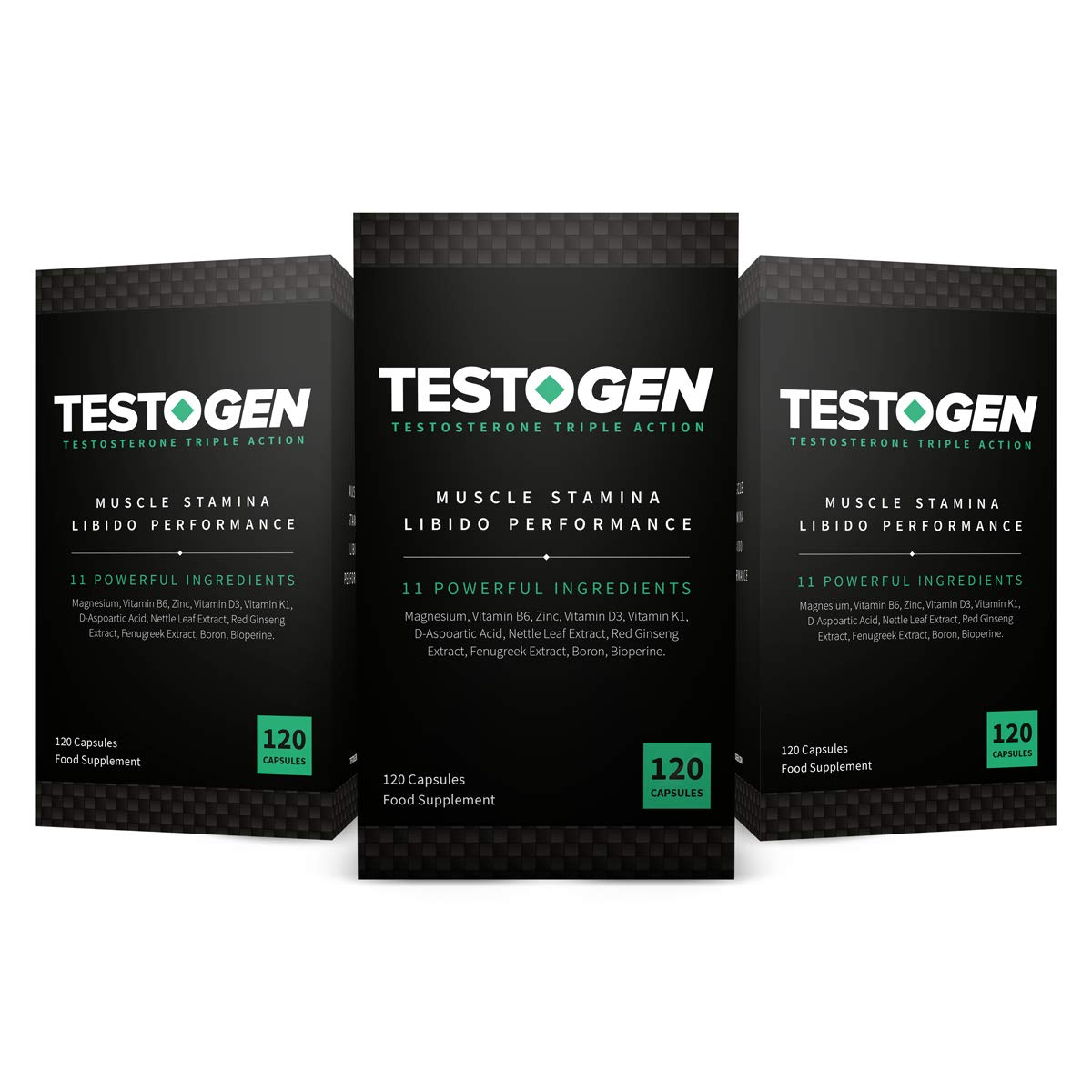 TestoGen Triple-Action Testosterone Booster with Powerful Natural Ingredients, Helps Improve Stamina, Strength and Energy (3 Bottles, 360 Capsules)