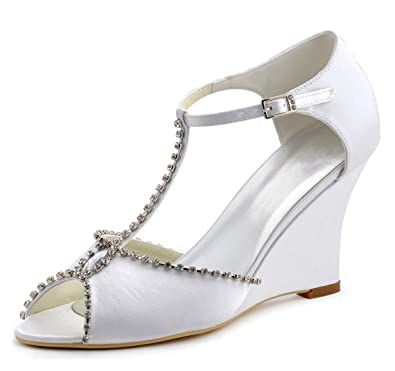 Image Unavailable. Image not available for. Color  Minishion Women s  T-Strap Crystals Ivory Satin Wedge High Heel Wedding Evening Shoes ... 9d1515c5f492