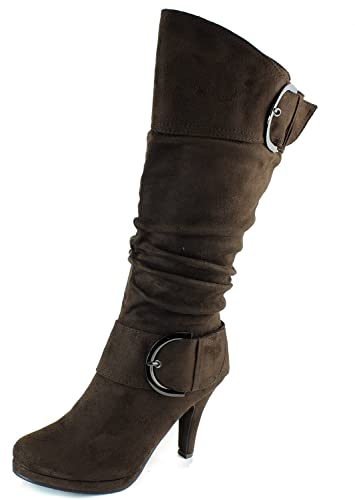 Page30 Brown Two Buckle Fashion Mid-Calf Slouch Faux Suede Folds Body Heel Boots-10