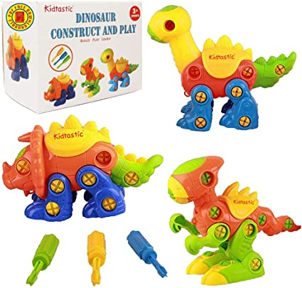 3 Year olds Kidtastic Dinosaur Toys 3 pack Take Apart Fun 6yr STEM Learning Original 106 pieces Best Toy Gift Kids Ages 3yr Construction Engineering Building Play Set For Boys Girls Toddlers