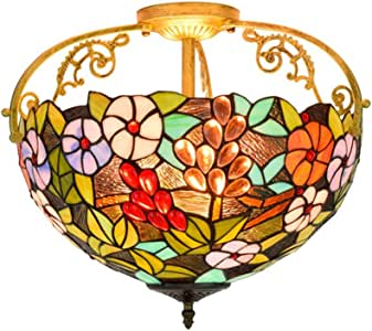 Tiffany Style Pendant Ceiling lamp Stained Glass Ceiling lamp with lampshade, for Living Room,Hallway, etc, E27 40cm,B
