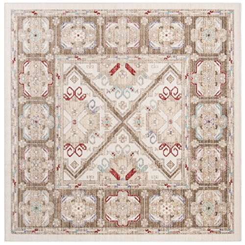 Safavieh Windsor Collection Premium Wool Square Area Rug, 6 , Ivory Brown