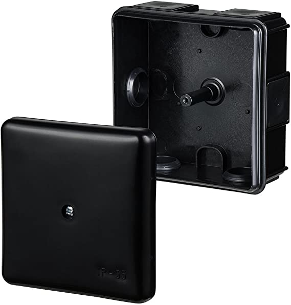 EP-LUX color negro IP55, 86 x 86 x 39 mm Caja de derivaci/ón