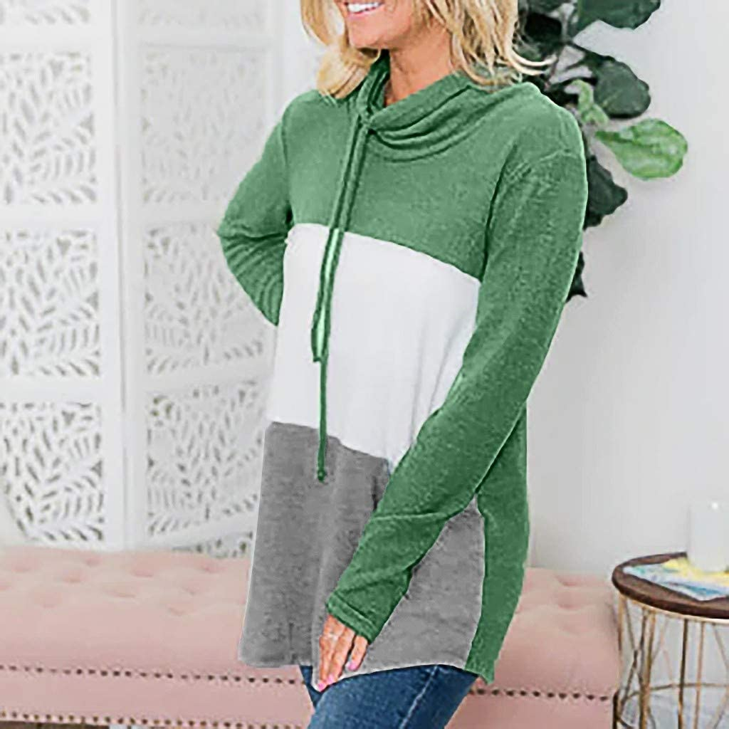High Collar Splicing Sweater Miuye yuren Fashion Loose Drawstring Warm Pullovers Elegant Female Sweatshirts