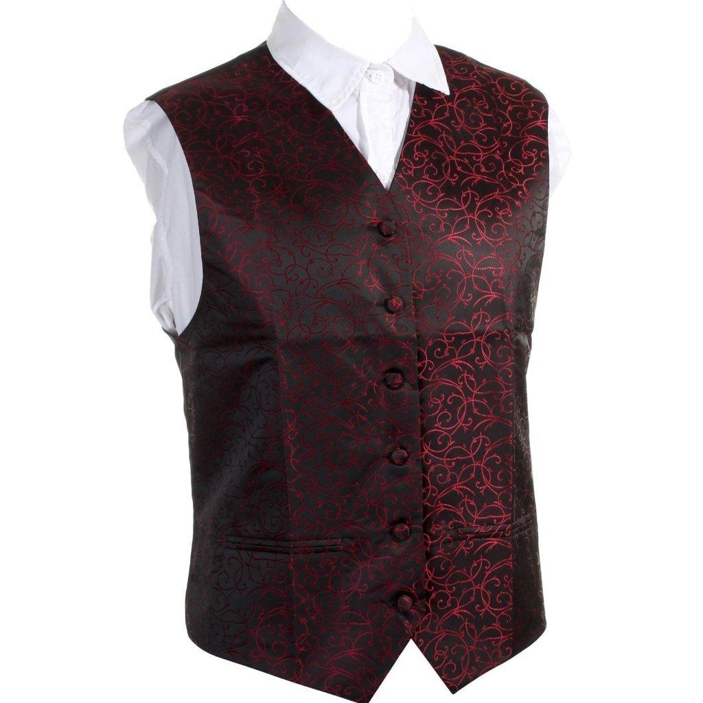 MultiWare Swirl Jacquard Mens Wedding Classic Retro Paisley Waistcoat 6 Button