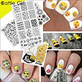 Cattie Girl 2Pcs Stamping Plate Emoji Facial Expression Manicure Nail Art Image Plate Nail Art