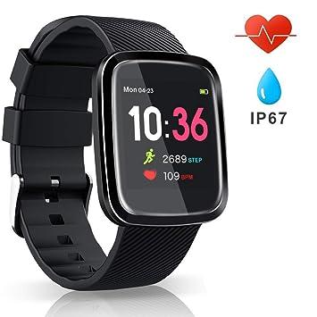 EUMI Smartwatch Reloj Inteligente Deportivo Pulsera Actividad Inteligente IP67 Duración Batería 15-18 días 8.5mm Espesor Cronómetro Podómetro Monitor ...