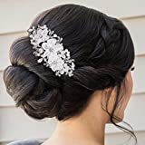 BriLove Womens Bohemian Boho Ivory Color Simulated Pearl Wedding Bridal Handmade Hair Comb Clear Silver-Tone