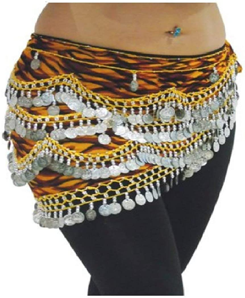 Zebra Belly Dance Hip Scarf Coin /& Bead Belt Wrap UK Size 12-24 M to Plus Size