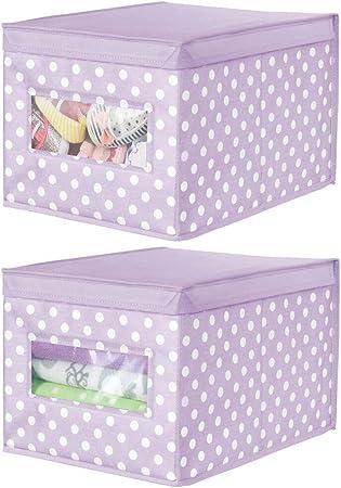 mDesign Juego de 2 cajas organizadoras de tela – Caja de almacenaje apilable para guardar ropa y zapatos o para ordenar armarios – Organizador de armarios con tapa y ventanilla – violeta/blanco: