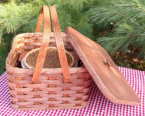 Amish Handmade Square Double Pie Carrier Basket with Two Swinging Handles, a Wooden Tray, and a Lid, 11 1/2