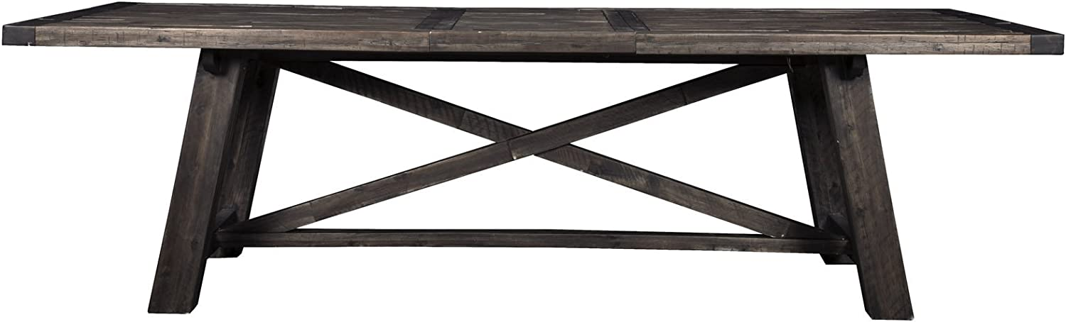 Amazon Com Alpine Furniture Newberry Rustic Dining Table With Extension 39 5 L X 83 W X 30 H X 103 W X Salvaged Grey Tables