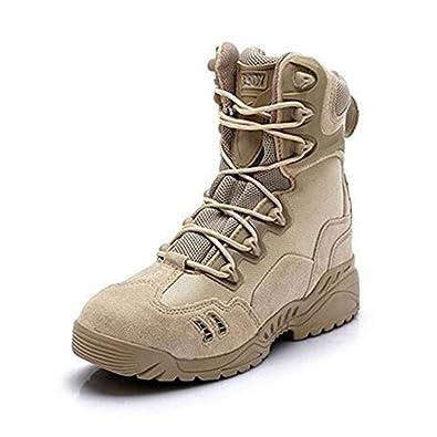 Newbestyle Chaussures de Randonnée Hommes Bottes Militaire Cuir Patrouille  Combat Armée Tactique Recrues Armée Désert Sécurité db5ef84b2815