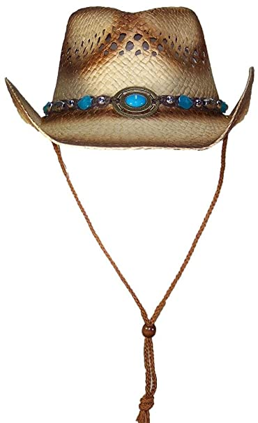 eeaea3db6ef Tropic Hats Adult Paper Straw Cowboy Cowgirl Cap W Band   Buckle - Brown at  Amazon Women s Clothing store