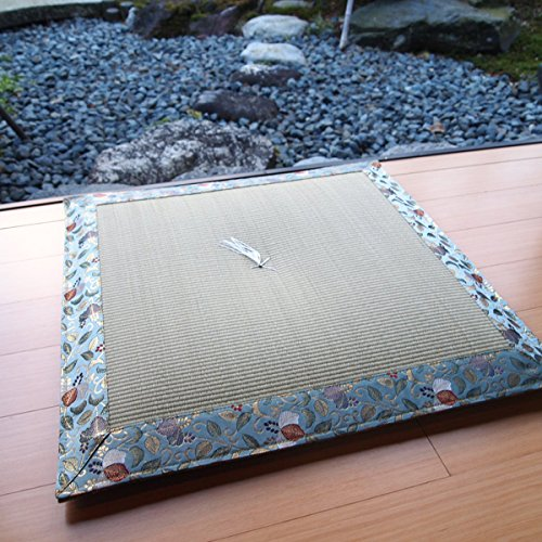 Four Seasons High-Quality Japanese-Made Cushion (Zabuton) Using The Rush And Kimono Fabric . Use This When To Sit In For The Summer . 23.6× 23.6Inch