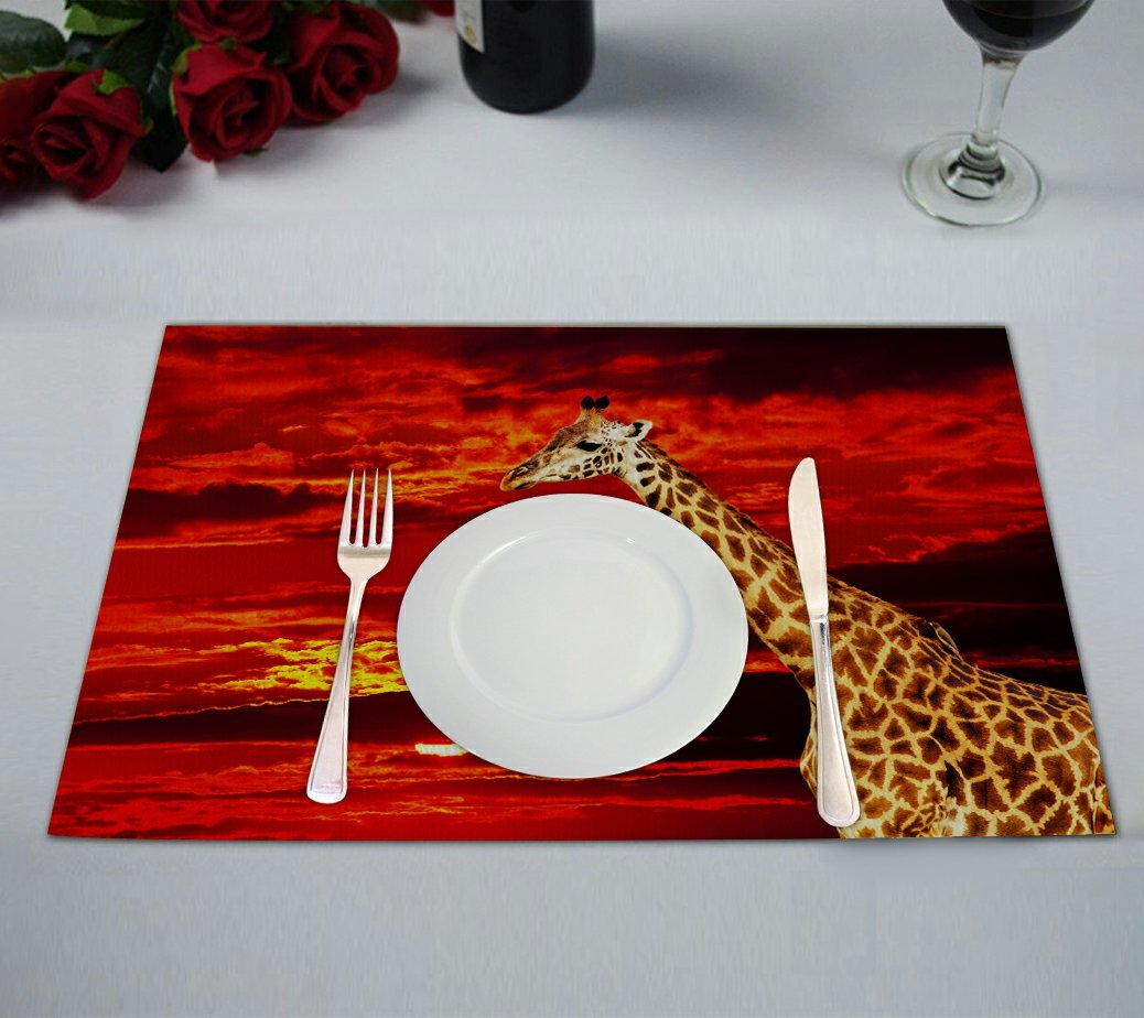 Custom Wild African Safari Placemat, Animal Giraffe against Red Sunset Landscape Table Placemat Food Mat 12x18 Inch,Pack of 2 Pieces.