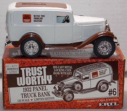 Trust-Worthy ERTL Die Cast 1932 Panel Truck Bank with Key 1:25 - Truck Bank Panel