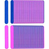 Sumind 200 Pack Disposable Nail Files Double Sided Nail Buffering Files Emery Boards Manicure Pedicure Tools Set, Blue and Pink
