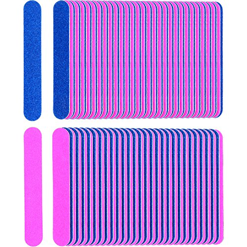 (Sumind 200 Pack Disposable Nail Files Double Sided Nail Buffering Files Emery Boards Manicure Pedicure Tools Set (Blue and Pink) )