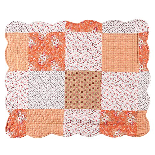 (Amber Mini Floral Patchwork Quilt Bedding Coverlet with Scalloped Edges, Orange, Sham)