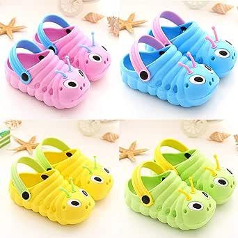 Baby Sandals Kid's Cute Shoes Summer Premium Cartoon Sandals Children Caterpillar Non-Slip Beach Slipper EAZsyn8 Blue