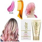 染めヘアワックス、ワンタイムカラースタイリング、スタイリングカラーヘアワックス、ユニセックス9色、diyヘアカラーヘアパーティー、ロールプレイング (Pink)