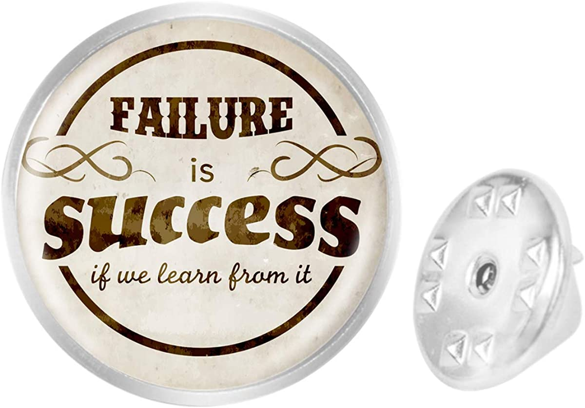 WAZZIT Round Metal Tie Tack Hat Lapel Pin Brooches Failure is Success If We Learn from It Banquet Badge Enamel Pins Trendy Accessory Jacket T-Shirt
