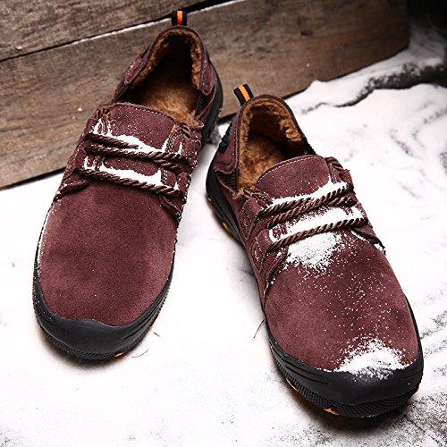 Uomo Rosso di Calda Fodera SPEEDEVE Classico Pelliccia Scarpe Mocassini Loafers da Pelle Scamosciata Casuale EwWUUqOnA