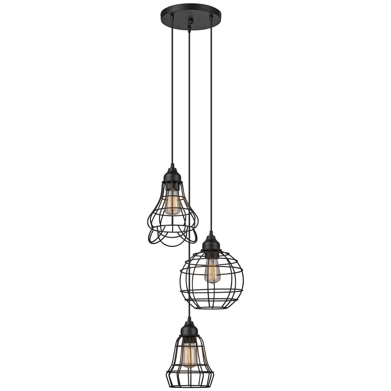 Globe Electric Jorah 3-Light Cage Cluster Pendant, Oil Rubbed Bronze Finish, 65624