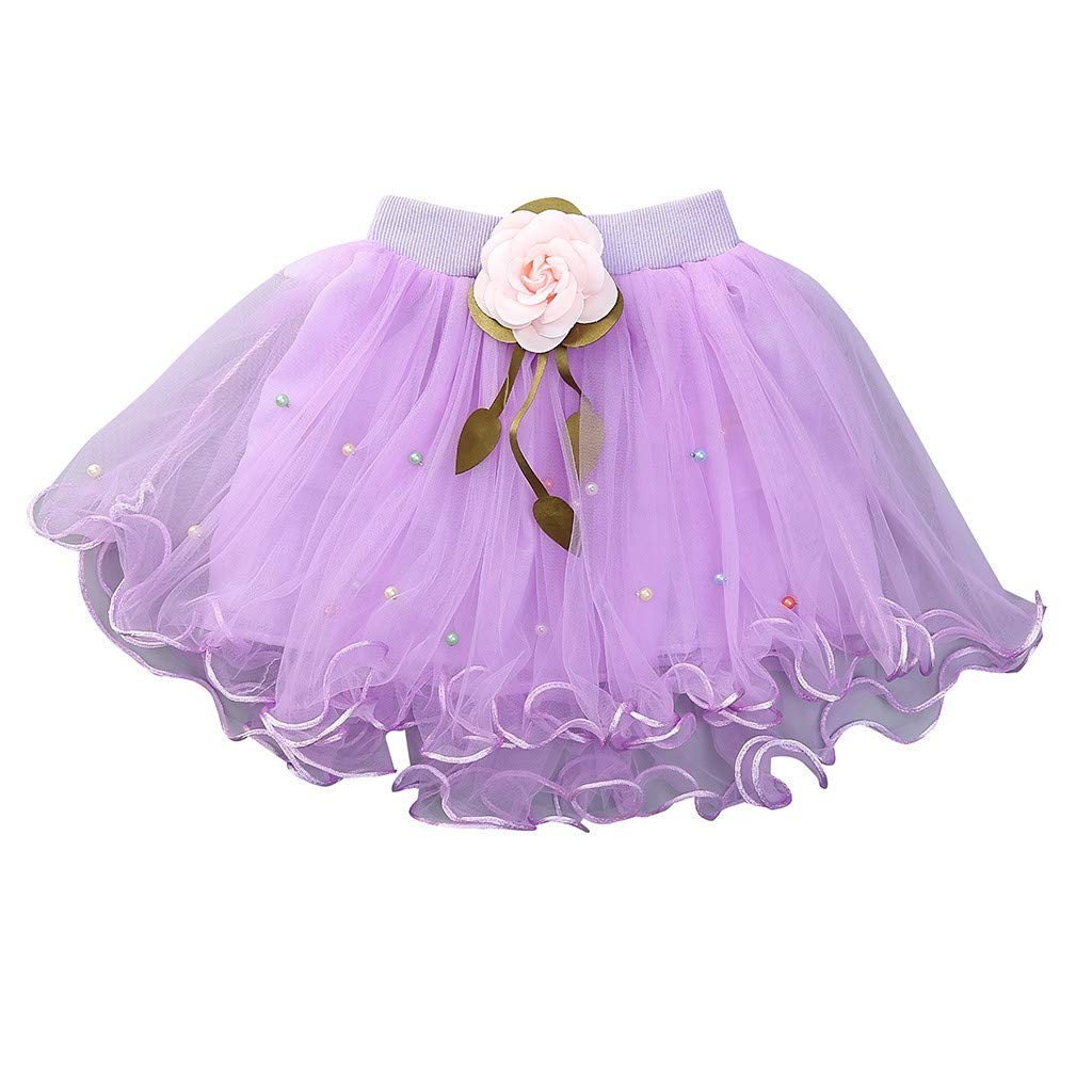 WUAI Baby Girls Tutu Skirts Layered Tulle Birthday Princess Dance Party Floral Dresses (Purple,2-3 Years)