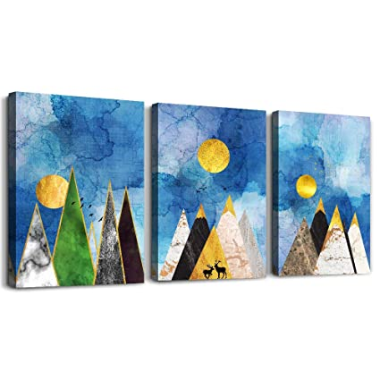 Mhart66 Blue Abstract Mountains And Animals Geometry Canvas Prints Wall Art Paintings 3 Piece Bathroom Wall Decor For Bedroom Wall Artworks Pictures