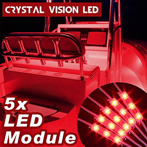 Vision Boat - Crystal Vision Premium LED 5 PCS For Boat Marine Deck Interior Light and More (White, Amber, Red, Green, Blue) - Crystal Red
