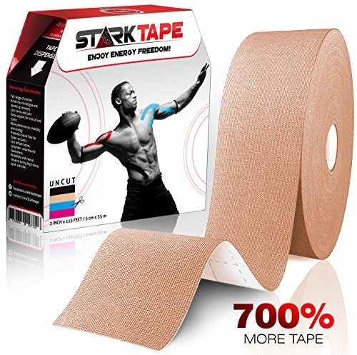 Starktape Kinesiology Tape Physio Medical Sports Tapes for Sensitive Skin Kinetic Taping | K Tex Gold Physical Therapy, Knee, Shoulder, Ankle, Wrist, Foot, Back Injury Muscle Pain aid, Roll Beige