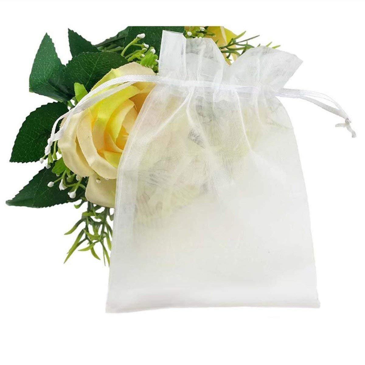 Hilai - 100 bolsas de organza con cordón para joyería, fiesta, boda, regalo, 10 x 12 cm, color blanco