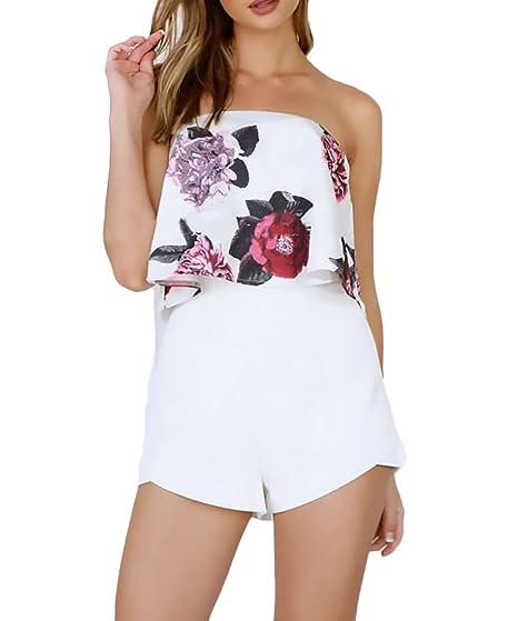 Mujer Conjuntos De Top Y Pantalones Cortos 2 Piezas Verano Elegantes Moda Estampados De Flores Sin